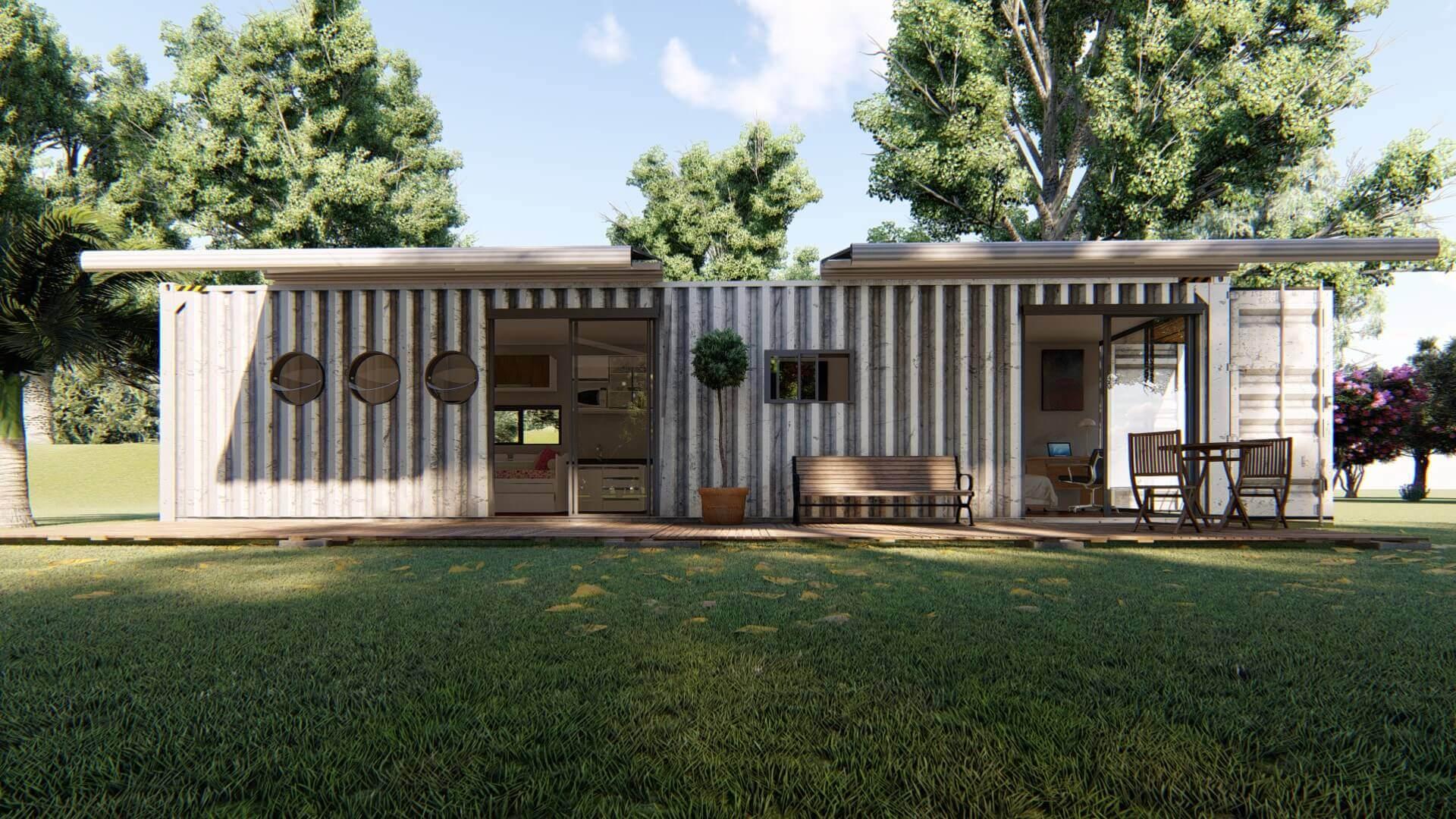 Casa Container 12 metros - Casa Container 40 PÉS